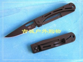 新款三刃木全钢镀黑钛折刀B4-717 7017